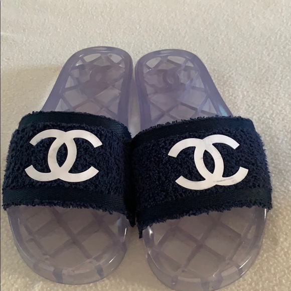 CHANEL Other - Chanel Navy 19p Cc Logo Fabric/Pvc Pool Mules